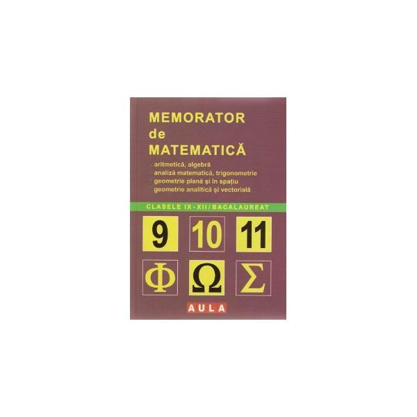 Memorator de Matematica.Liceu